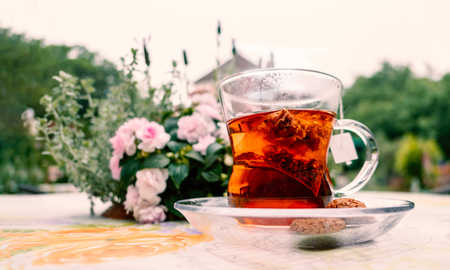 English style afternoon hot herbal tea with cookies at the backyard garden Reklamní fotografie - 123035468