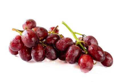 Fresh bunch of red grapes , Isolated on white background