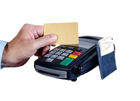 Hand showing credit card and Card reader machine , Isolated on white background Standard-Bild - 126962903