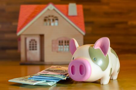 Piggy bank and banknote with blurred home in background : Concept for success investment Standard-Bild - 130675099