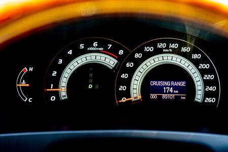 Modern car dashboard with analog and digital display