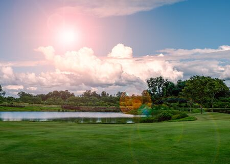 Beautiful countryside landscape of northern Thailand with dramatic sky and lens flare effect Standard-Bild - 130673172