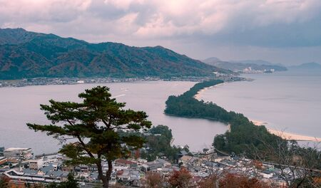 High angle view of Amano hashidate in Kyoto, one of three best landscapes in Japan, it's name means