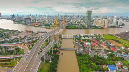 High angle view, Bangkok, Chao Phraya River, Thailand