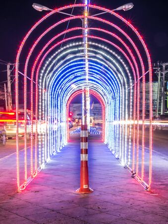 avenue: Light the Night Central Avenue in Thailand Stock Photo