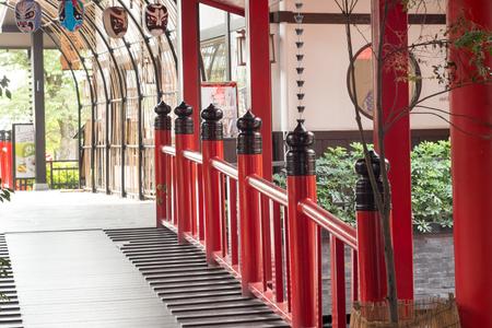 red barrier velvet: Railing red During the walk