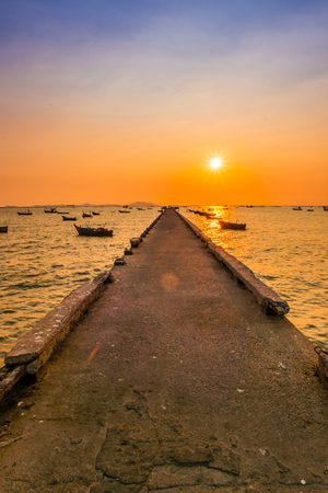 fishing pier: Fishing pier during sunset
