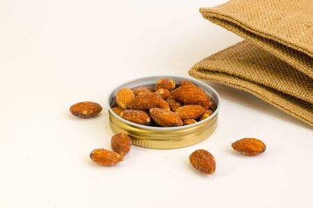 almonds: Salted almonds On a white background Stock Photo