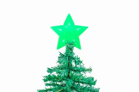 Decorated Christmas Tree isolate On a white background  With Clipping path. Stock Photo
