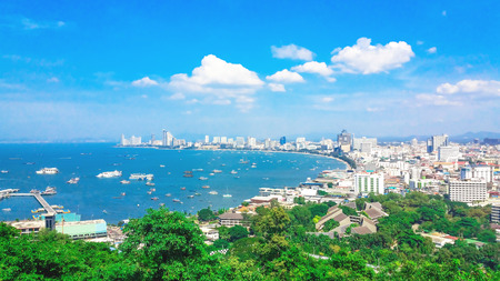 Pattaya City panorama View of building city skyline Daytime.