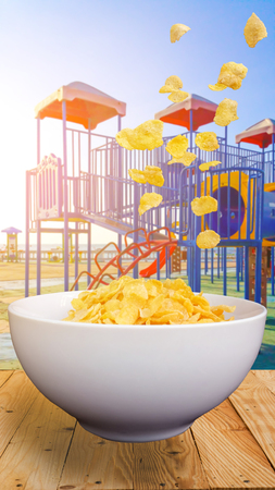 Cereal breakfast or corn flakes with sugar-coated and milk in a bowl In the morning for your and children .