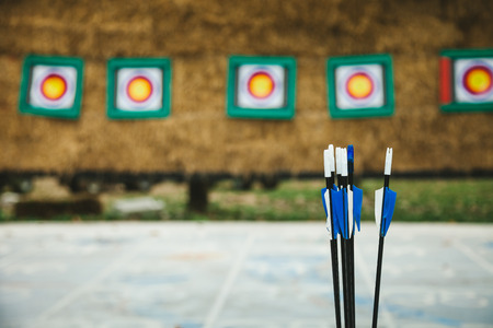 Arrow prepare for shooting with archers On the pitch Target Archery