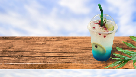 Hello summer Drink that gives you refreshing in the summer Concept . Juice, ice cold refreshing on the table .