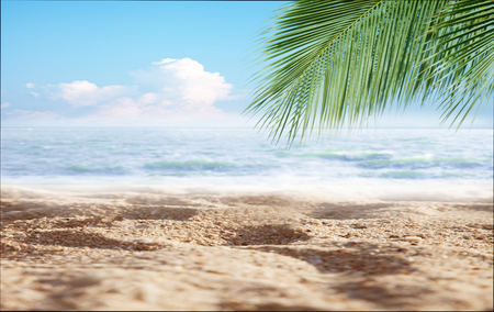 Hello summer , Tropical Sand beach with sea and coconut palm leaves in relaxation time. Happiness and relax on the beach during summer concept. Zdjęcie Seryjne