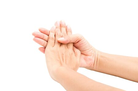 clasped hands: Hands clasped hands with hope isolated on white background Stock Photo