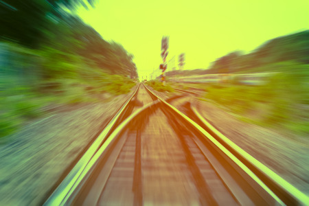 railway track, train fast run on railway track Stock Photo