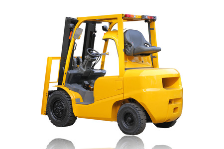 counterbalanced: forklift truck isolated on white background. Stock Photo