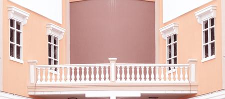balcony window: classic facade with balcony window Stock Photo