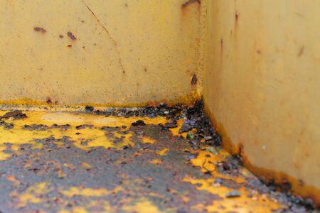 rusty nail: rust between the welding of steel plate Stock Photo