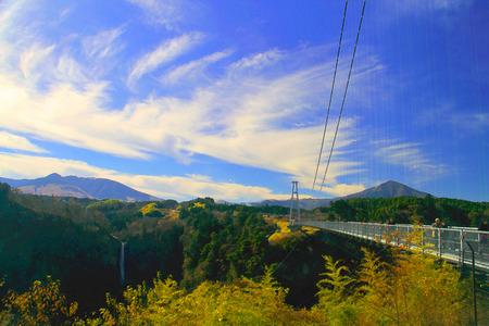 painting view of kokonoe Yume Grand Suspension Bridge Oita,Japan,Mosaic tiles style Stock Photo