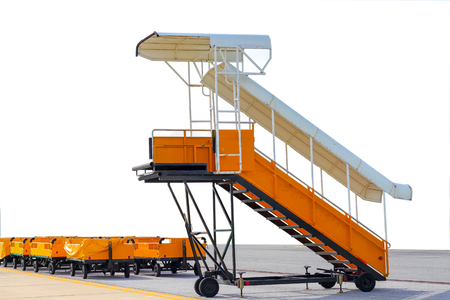 stair for passenger and cargo tray on white background