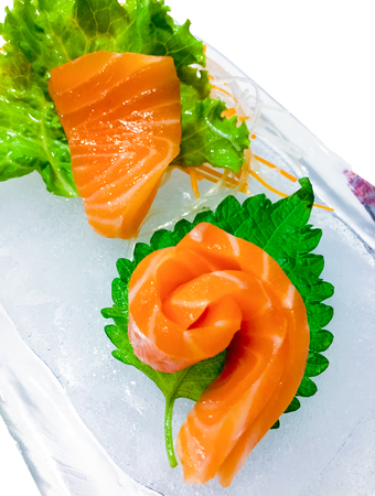 Salmon Sashimi isolated on white background 版權商用圖片
