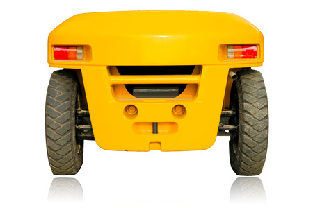 The back of the forklift car isolated on white background