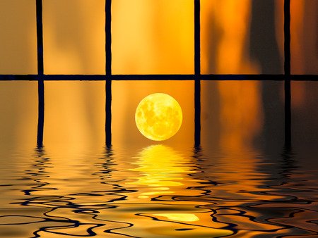 Abstract of moon with reflection on the water