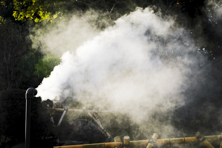 Hot steam flowing out from pipe