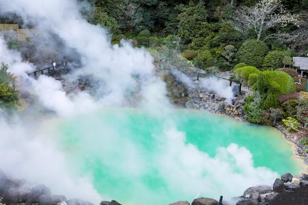 Umi Jigoku (Sea Hell) blue water. One of the eight hot springs located at Beppu, Oita, Japan Фото со стока