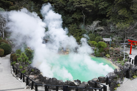 Umi Jigoku (Sea Hell) blue water. One of the eight hot springs located at Beppu, Oita, Japan Editorial