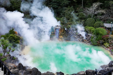 Umi Jigoku (Sea Hell)  blue water. One of the eight hot springs located at Beppu, Oita, Japan.