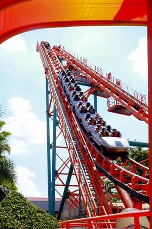 Amusement park Roller coaster rail Stock Photo