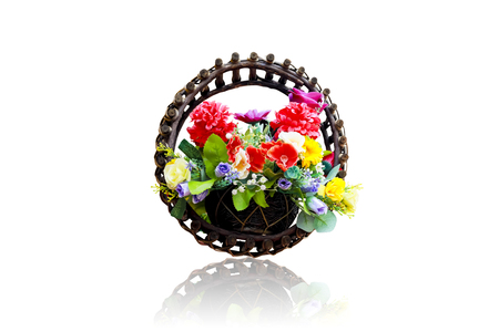Fake flowers in pots isolated on white background.This had clipping path