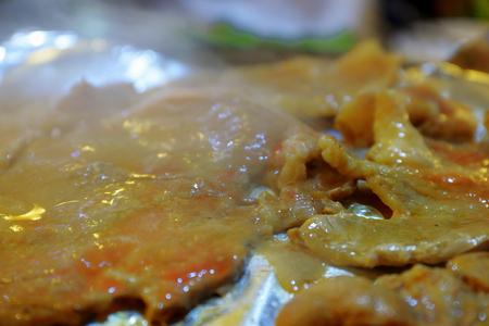 Korean grilled pork food.The popular Korean barbecue , South Korea.