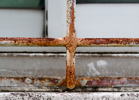 Rust on the iron fence close up