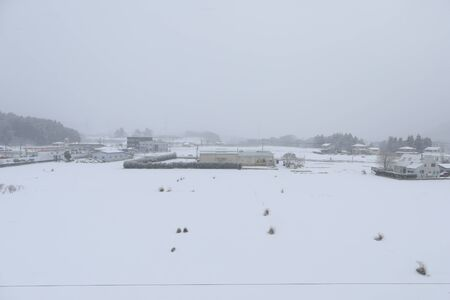 Road and heavy snow at japan