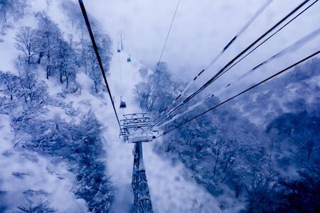 Cable car Sky on Snow mountain at Gala Yuzawa , Japan Imagens