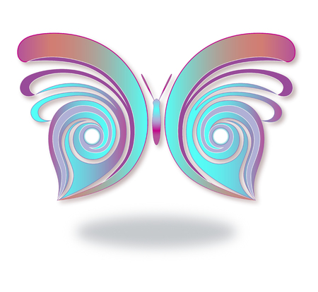 Butterfly vector design simplified and symmetrical. Illustration