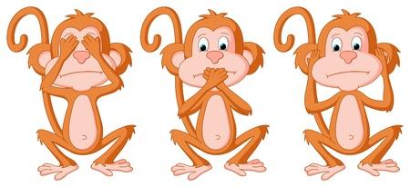 mandril: Se trata de un conjunto de 3 monos de dibujos animados en diferentes poses Este es un modo de color RGB vector Ilustraci�n archivo creado en Adobe Illustrator