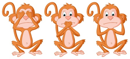 dumb: This is a set of 3 cartoon Monkeys in different poses  This is a RGB color mode vector Illustration file created in Adobe Illustrator