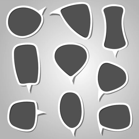 adobe: This is an illustration containing different creative speech bubbles in grey color  This is a RGB color mode vector Illustration file created in Adobe Illustrator  Illustration