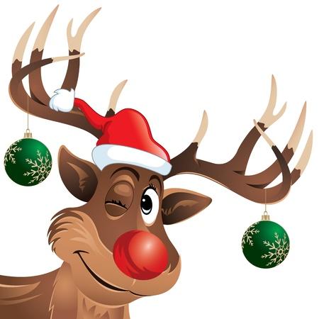 ルドルフ、トナカイ クリスマスをぶら下げまばたきボール彼は探している笑顔であなたを見て非常に幸せなクリスマスとは来るこれは CMYK カラー モ