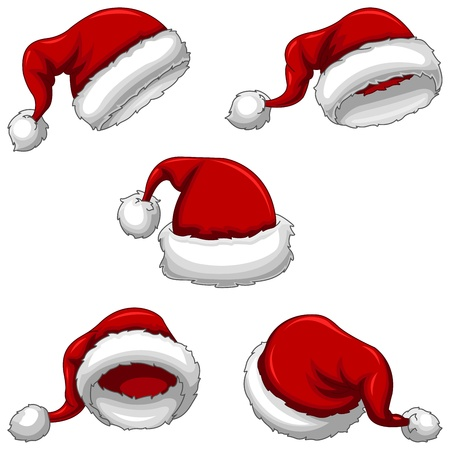 Santa Claus Caps Hats in different views and angles  This is a RGB color mode Vector Illustration file created in Adobe Illustrator  Vector
