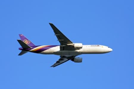 thaiairway boeing 777-200 take off with bluesky Editorial