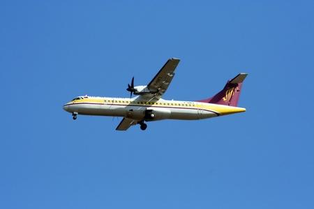 ATR72, 72-200 airmandalay landing at chiangmai airport, flight from yangoon, myanmar
