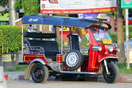 tuk tuk, Motor tricycle. Convenience and fast transport in chiangmai, thailand Editorial