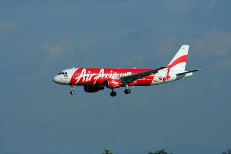HS-ABH Airbus a320-200 of Thaiairasia landing to Chiangmai airport, flight from bangkok Suvarnabhumi airport. Editorial