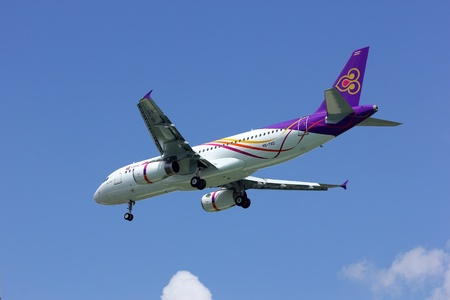Airbus A320-200 of Thaismile airline, HS-TXD landing to chiangmai airport, from phuket.