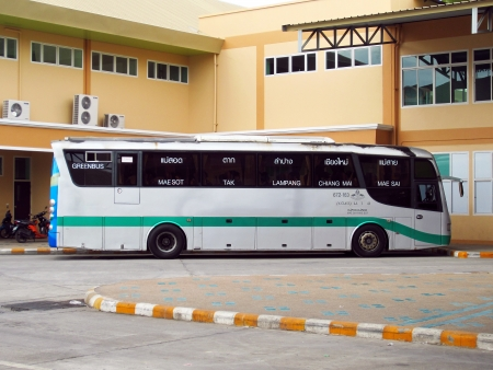 Scania bus body and chassis, greenbus route massot and maesai.        Stock Photo - 15619588